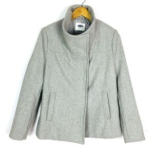 Old Navy Recycled Wool Light Gray Structured Coat
